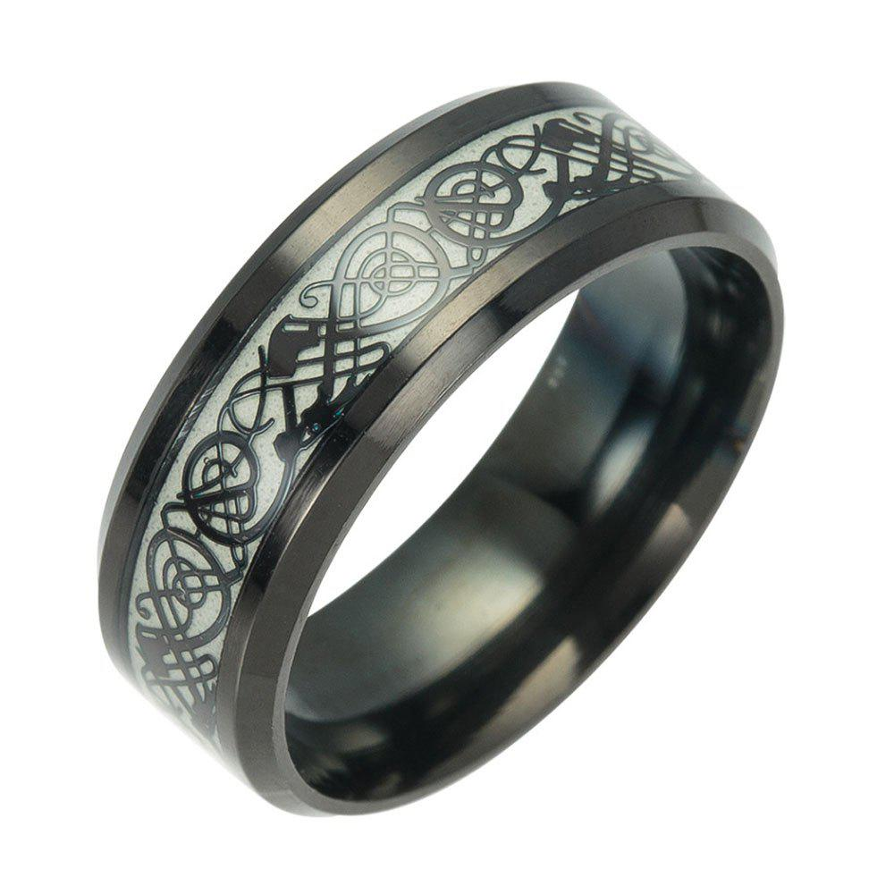 Unique Fashion Luminous Black Titanium Steel Ring