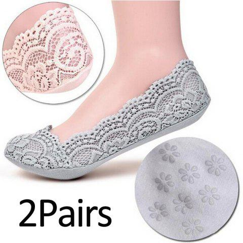 New 2 Pairs Women Cotton Socks Antiskid Invisible Liner Boat Socks