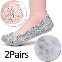 2 Pairs Women Cotton Socks Antiskid Invisible Liner Boat Socks -