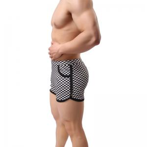 Fashion  Black and White Plaid Casual Men's Sports Shorts -