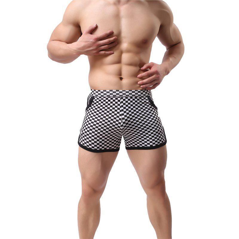 Best Fashion  Black and White Plaid Casual Men's Sports Shorts