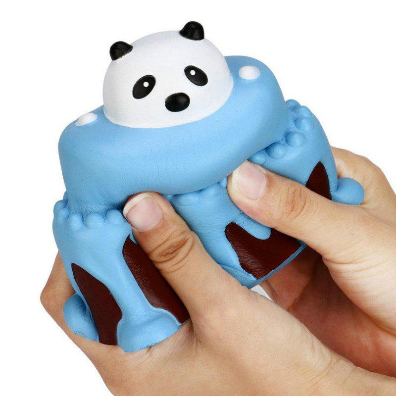 Outfit Jumbo Squishy Slow Rising Stress Relief Toy Made By Enviromental PU Replica Cartoon Panda Head Cake