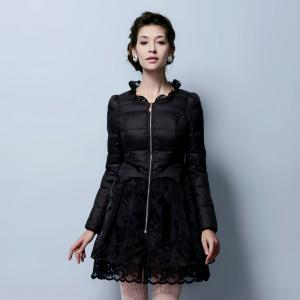 Lace Gored Slim Luxury Down Feather Long Thickening Coat -