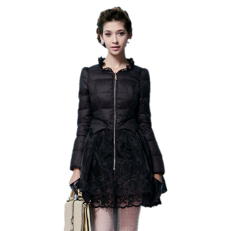 Hot Lace Gored Slim Luxury Down Feather Long Thickening Coat