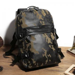 Fashion Camouflage Men's Leather Backpack Travel Large Capacity Rucksack Knapsack -