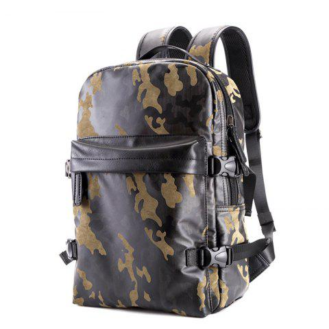 Buy Fashion Camouflage Men's Leather Backpack Travel Large Capacity Rucksack Knapsack