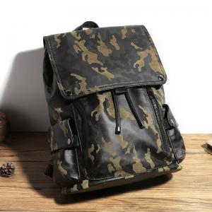 Camouflage Men's Leather Backpack Korean Travel Outdoor Rucksack Multi-functional Knapsack -