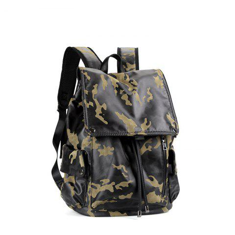 Outfits Camouflage Men's Leather Backpack Korean Travel Outdoor Rucksack Multi-functional Knapsack