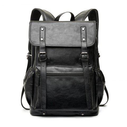 Cheap Black Leather Business Rucksack Fashion Large Capacity Backpack Students Knapsack
