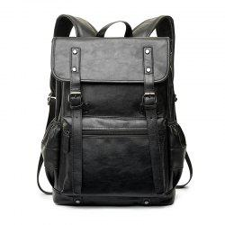 Black Leather Business Rucksack Fashion Large Capacity Backpack Students Knapsack -