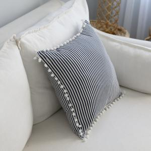 Decorative Pillowcase Fashionable Creative White Ball Edge Blue Stripe Pattern for Office Sofa -