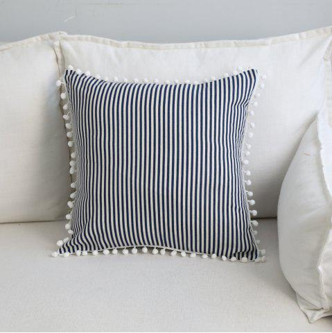 Buy Decorative Pillowcase Fashionable Creative White Ball Edge Blue Stripe Pattern for Office Sofa