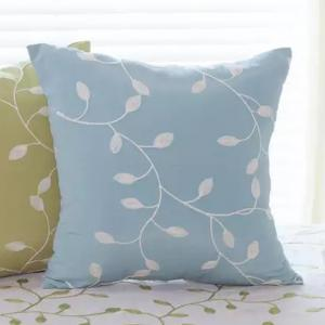 Sofa Cushion Case Fresh Color Embroidery Leaves Pattern Decorative Blue Pillowcase -