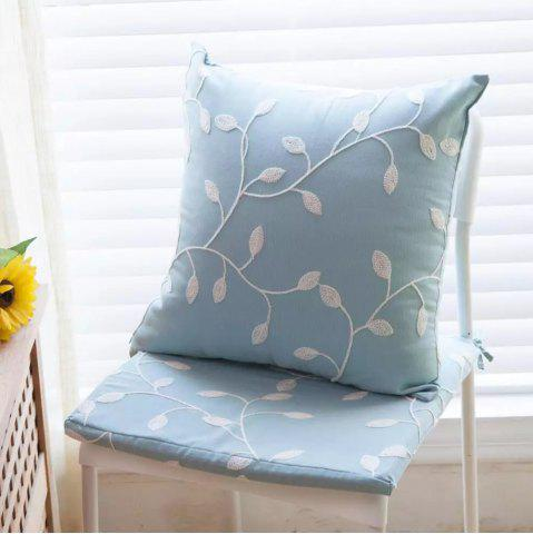 Sale Sofa Cushion Case Fresh Color Embroidery Leaves Pattern Decorative Blue Pillowcase