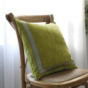 Yellow-Green Decorative Pillowcase Classic Suede Cloth Comfy Square Supple Cushion Cover -