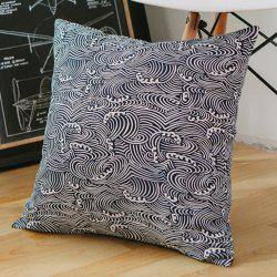 Pillowcase Classic Style Sea Wave Pattern Car Comfy Back Cushion Cover -