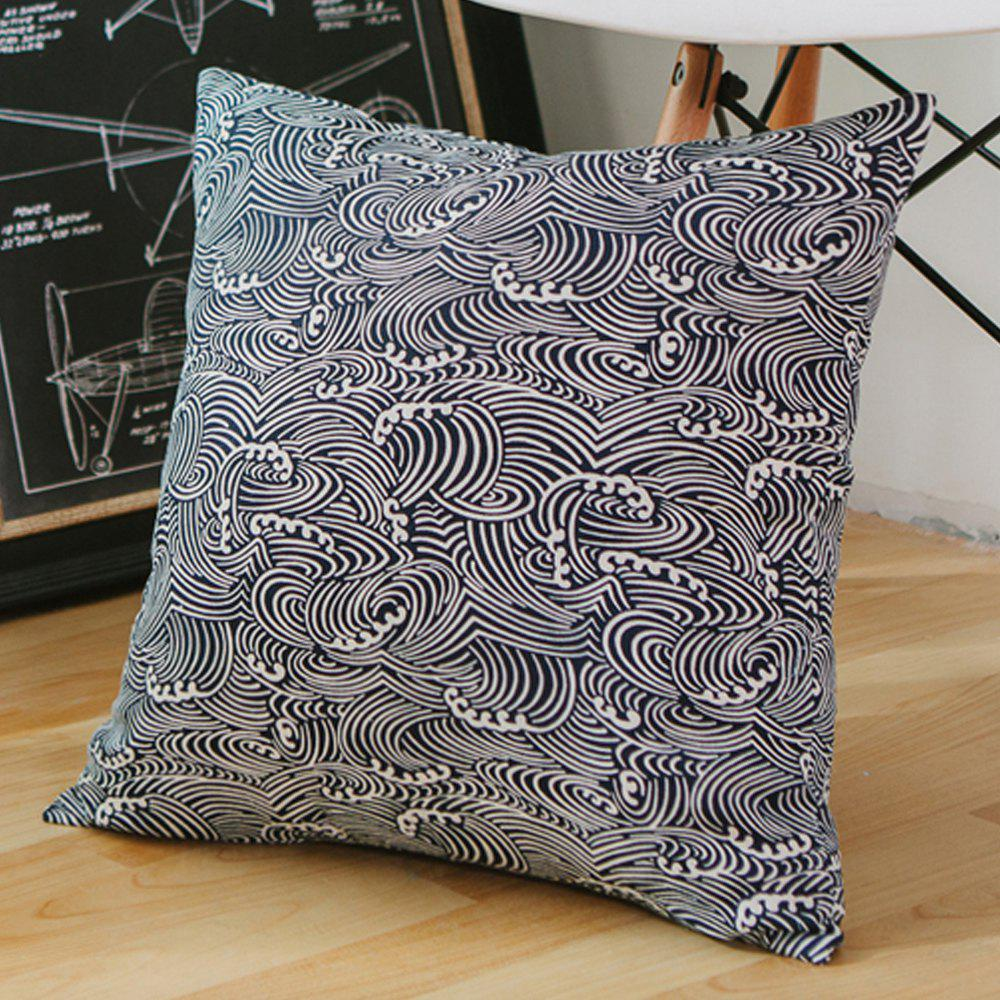 New Pillowcase Classic Style Sea Wave Pattern Car Comfy Back Cushion Cover
