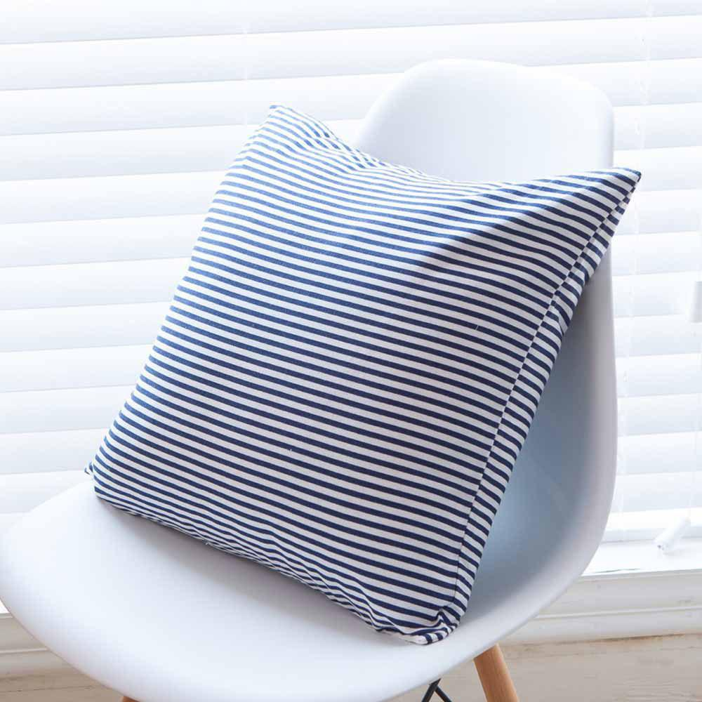 Hot Cushion Cover Simple Blue Striped Decorative Pillowcase Car Office Decorative