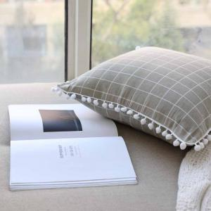 Decorative Pillowcase Light Gray Plaid Pattern Car Cushion Cover -