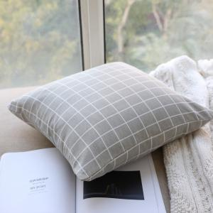 Pillow Cover Nordic Breif Style Gray Plaids Cushion Cover Pillowcase -
