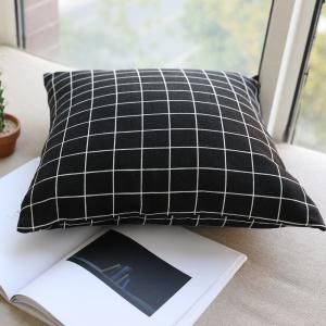Pillow Cover Nordic Breif Style Black Plaids Cushion Cover Pillowcase -