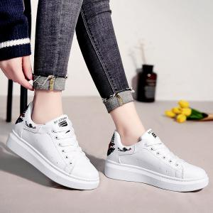 Embroidered Sneakers with Thick Bottom -