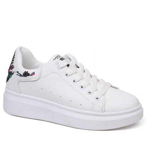 Chic Embroidered Sneakers with Thick Bottom