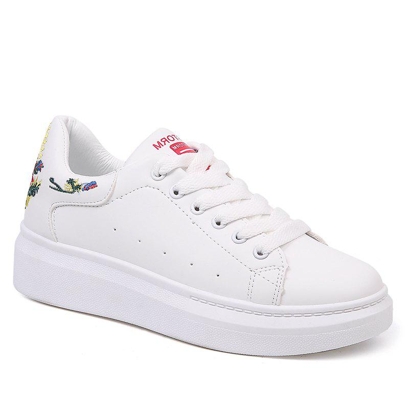 Trendy Embroidered Sneakers with Thick Bottom