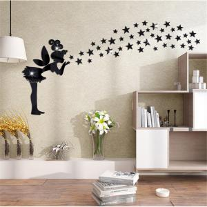 Home Furnishing Decorative Carved Mirror Wall Angel Kindergarten Environment Layout of Stereoscopic TV Wall Stickers -