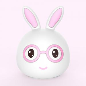 Silica Gel  Intelligent Sensor Night Light  Smile And Lovely Small Rabbit Seven Color Bedside Lamp -