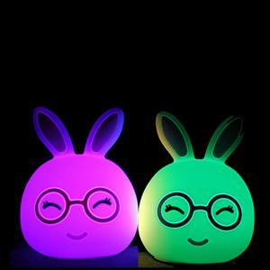 USB Charging Silica Gel Intelligent Sensor Night Light Happy And Lovely Small Rabbit Seven Color Bedside Lamp -