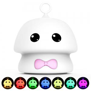 Colorful Mushroom Silica Gel White Cartoon Night Light LED  On The Bedside Lamp -