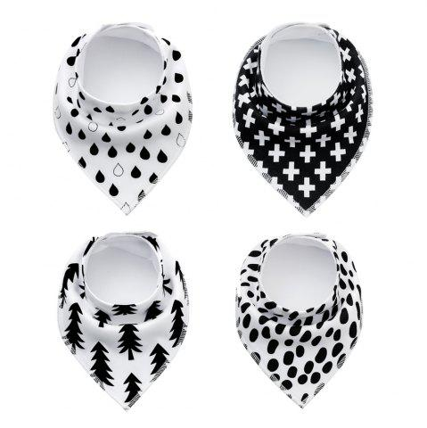 Fancy 4PCS Baby Bandana Drool Bibs Soft with 100 Percent Organic Cotton (F19)