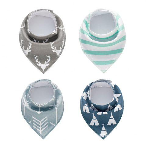 Trendy 4PCS Baby Bandana Drool Bibs Soft Bib with 100 Percent Organic Cotton (F20)