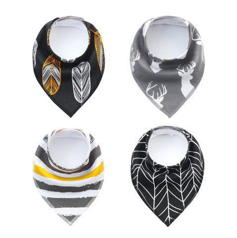New 4PCS Baby Bandana Drool Bibs Soft with 100 Percent Organic Cotton (F24)