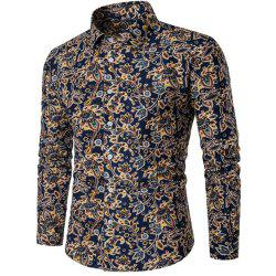 2018 Spring and Summer New Cotton Printed Long-Sleeved Shirt -
