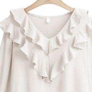 Plus Size V Collar Horn Sleeve Chiffon Shirt -