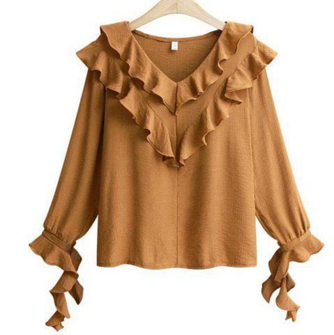 Fashion Plus Size V Collar Horn Sleeve Chiffon Shirt