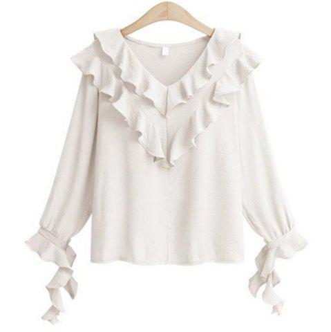 Hot Plus Size V Collar Horn Sleeve Chiffon Shirt