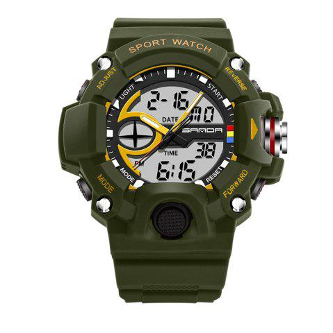 New Sanda 715 1288 Fashion Trend Outdoor Sport Multi-Functional Silicone Strap Man Waterproof Watch