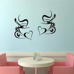 Kitchen Wall Sticker Coffee Cup with Heart Kitchen Vinyl Wall Art Decor Decal Stickers 30X20CM Mural -