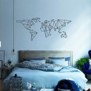 Geometric World Map Vinyl Wall Sticker for Kids Room Murals Decals Home Decoratin -