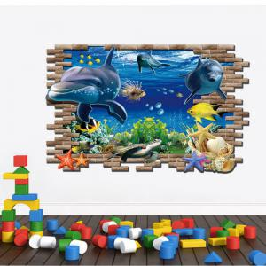 3D Sea World Shark Fishes PVC Full Color Wall Stickers for Kids Nursery Room -