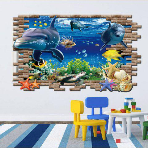 Buy 3D Sea World Shark Fishes PVC Full Color Wall Stickers for Kids Nursery Room