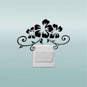 DSU Creative Bauhinia Flower Vinyl Switch Sticker Cartoon Plant Wall Sticker Home Decor -