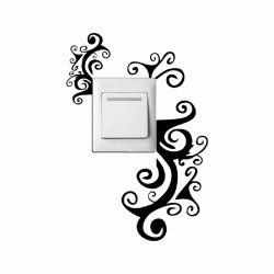 DSU Creative Hand Carving Vine Flower Light Switch Sticker Cartoon Flowers Vinyl Wall Decor -