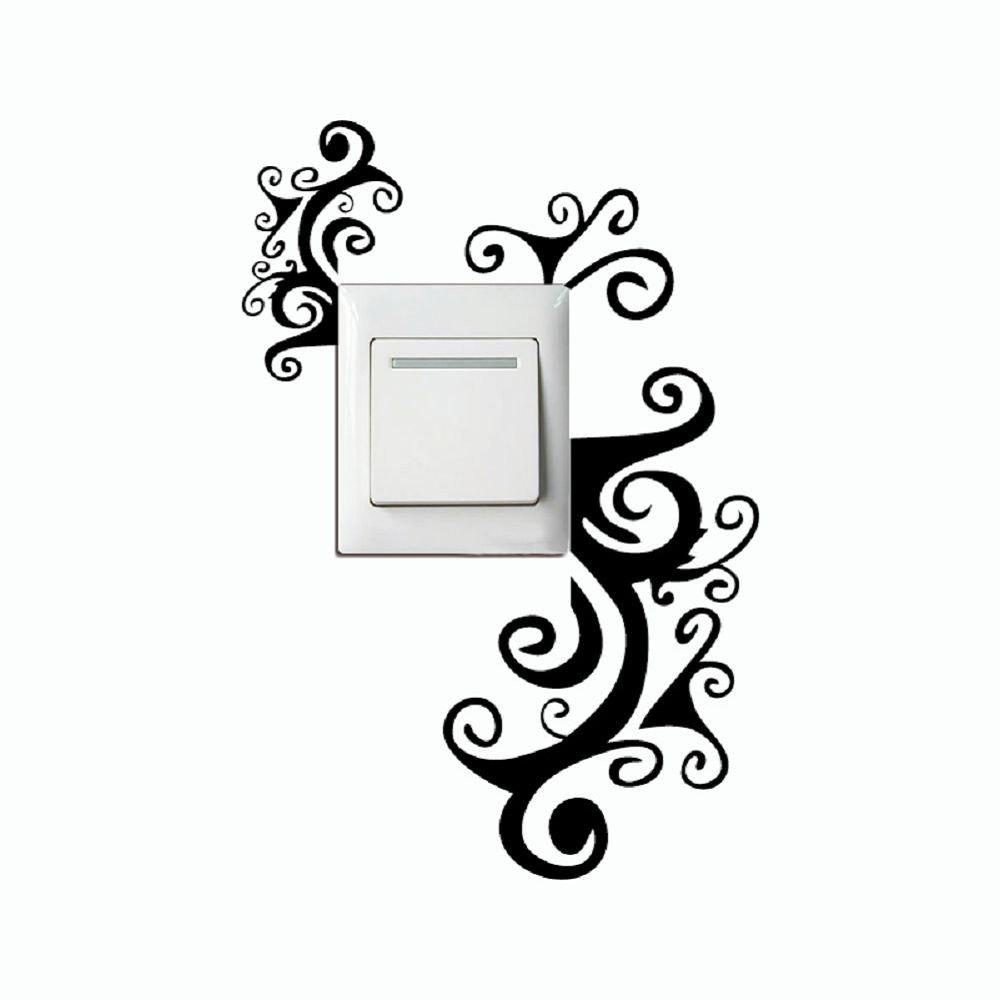 Latest DSU Creative Hand Carving Vine Flower Light Switch Sticker Cartoon Flowers Vinyl Wall Decor