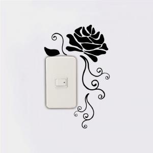DSU Creative Rose Silhouette Vinyl Switch Sticker Natural Style Cartoon Flower Wall Decar -