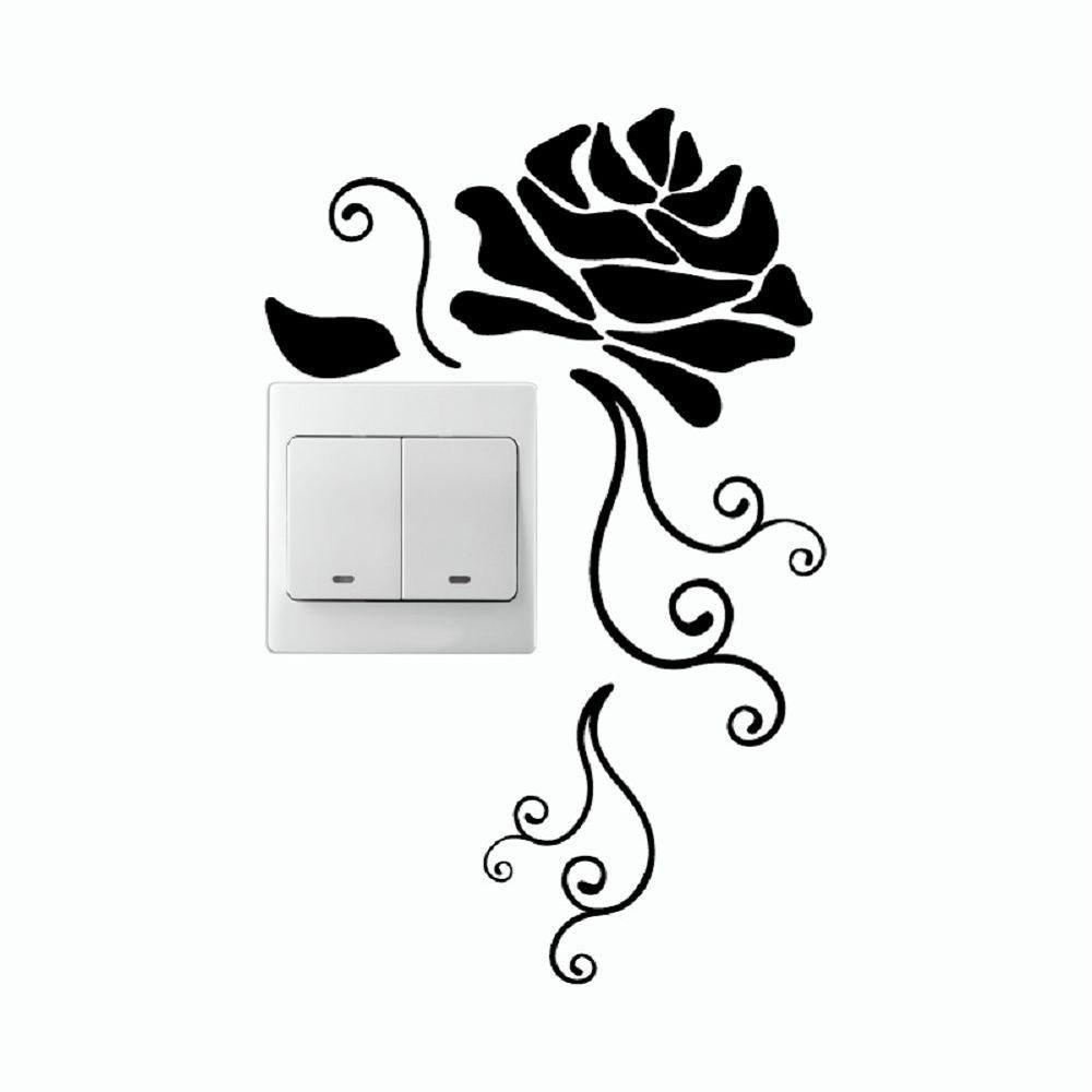 Discount DSU Creative Rose Silhouette Vinyl Switch Sticker Natural Style Cartoon Flower Wall Decor