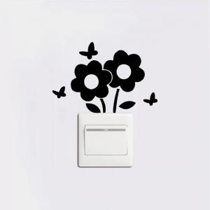 DSU Lovely Flowers Switch Sticker Cartoon Plant Vinyl Wall Sticker for Kids Room Decal -